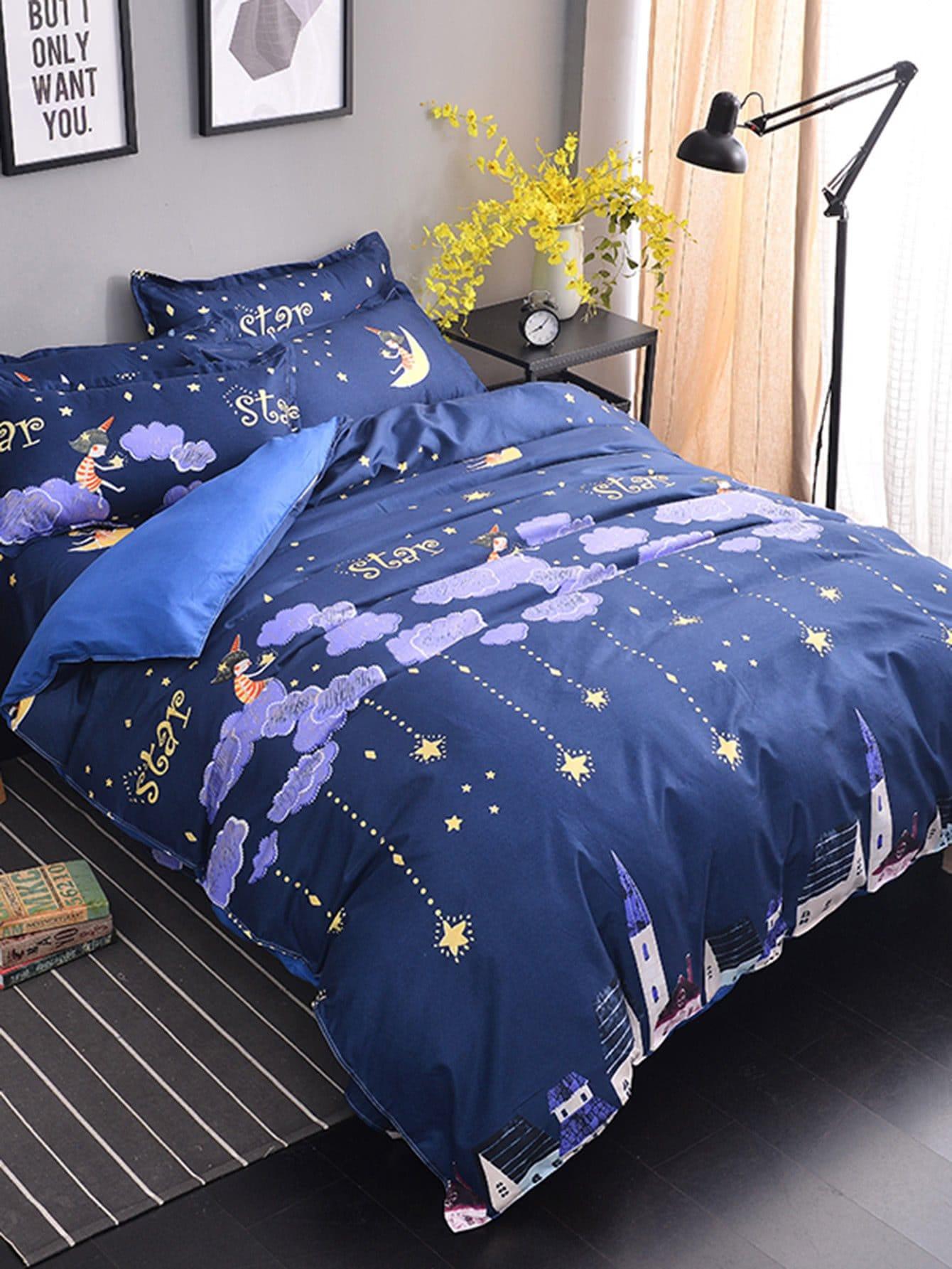 Купить Комплект для кровати с принтом звезды и облака, null, SheIn