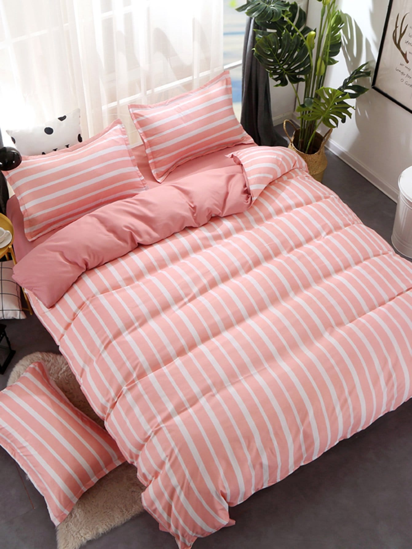 Купить Комплект для кровати с полосками, null, SheIn