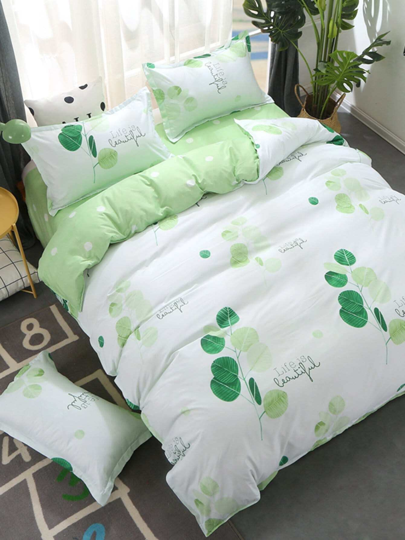 Tree & Letter Print Bedding Set letter print two tone bedding set