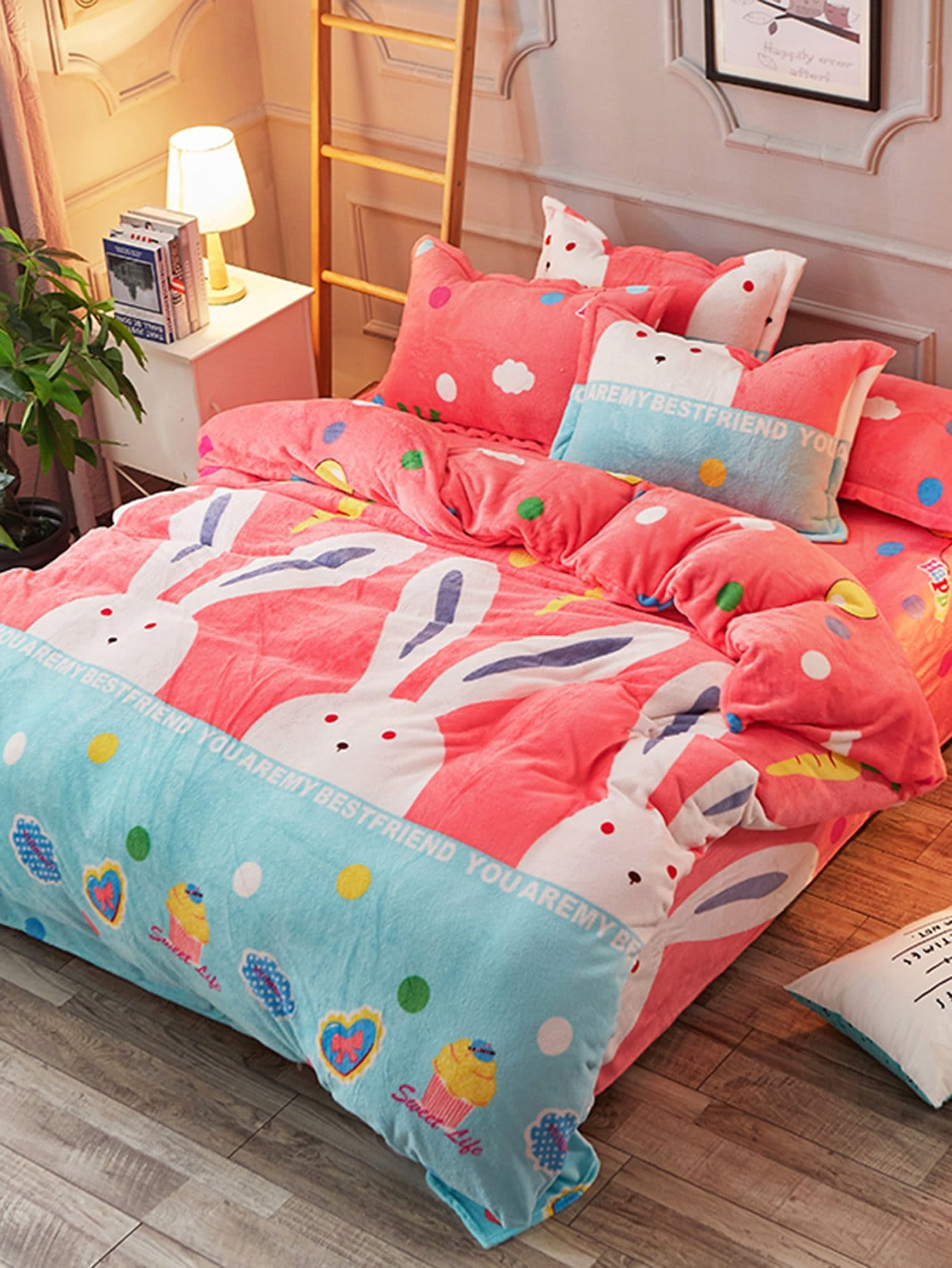 Rabbit Print Fuzzy Duvet Cover & Sheet & Sham Set rabbit print pullover
