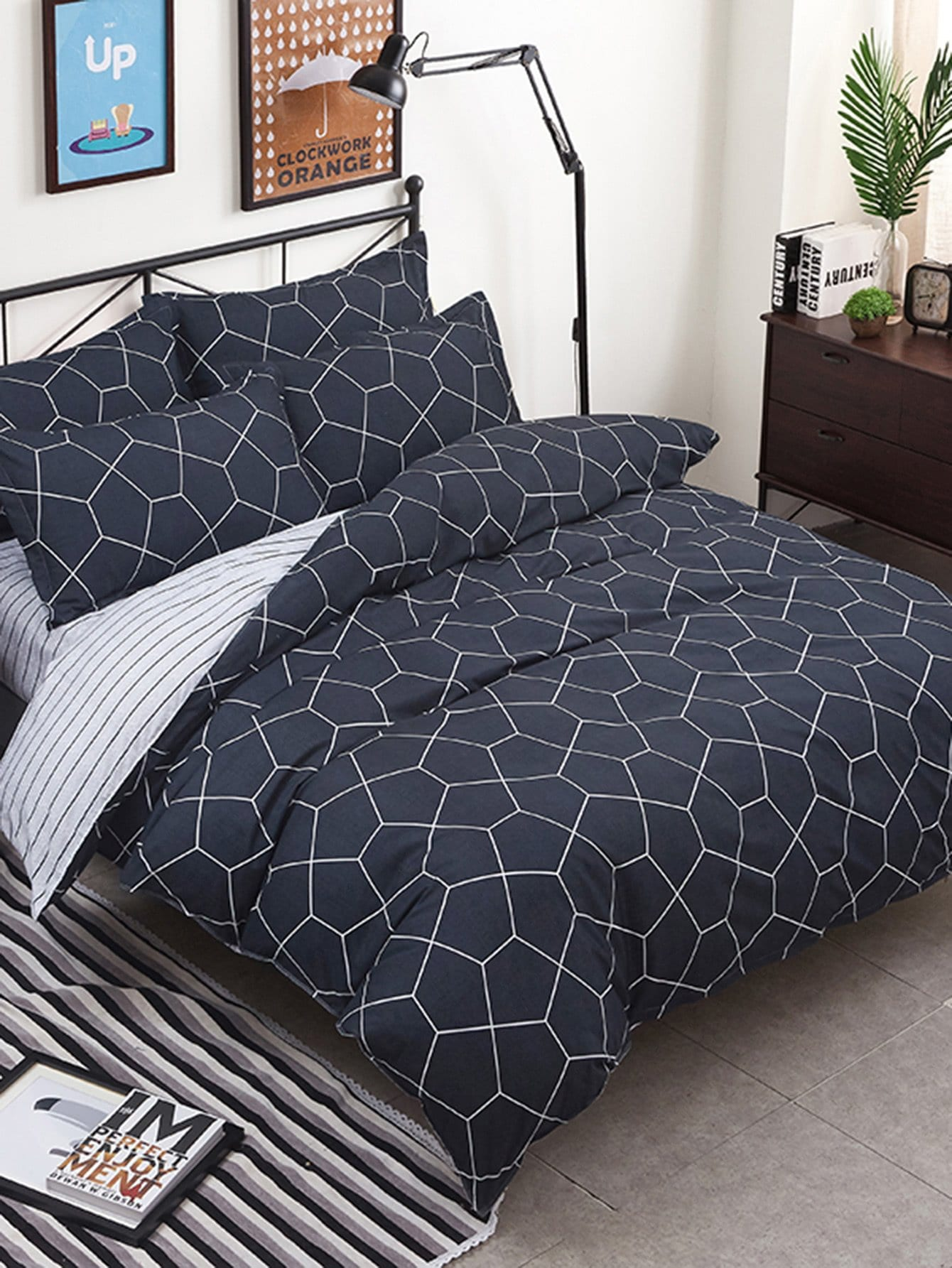 Geometric Pattern Duvet Cover & Sheet & Sham Set