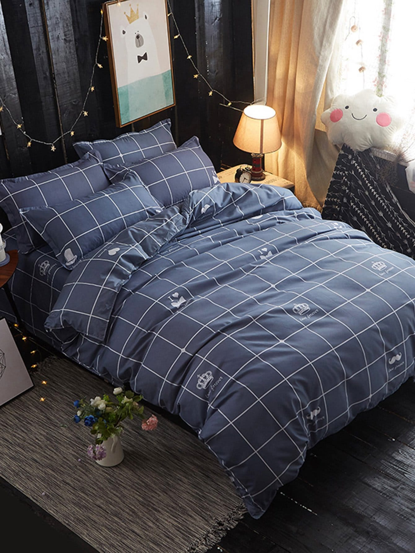 Crown Print Grid Duvet Cover & Sheet & Sham Set grid duvet cover set