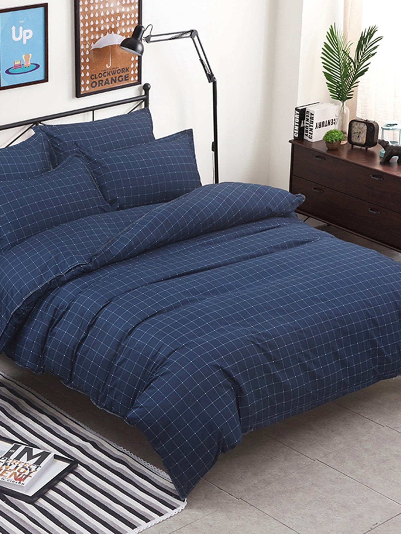 Grid Duvet Cover & Sheet & Sham Set grid duvet cover set