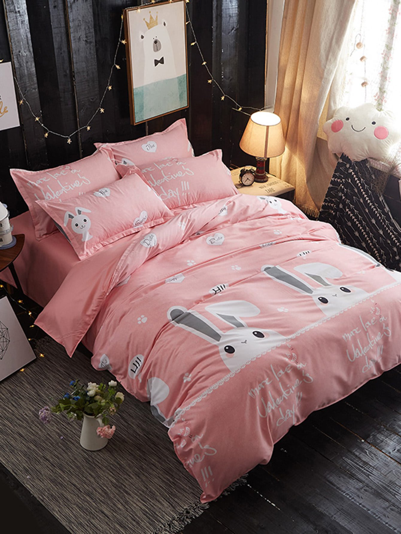 Cartoon Rabbit Print Bedding Set rabbit print pullover