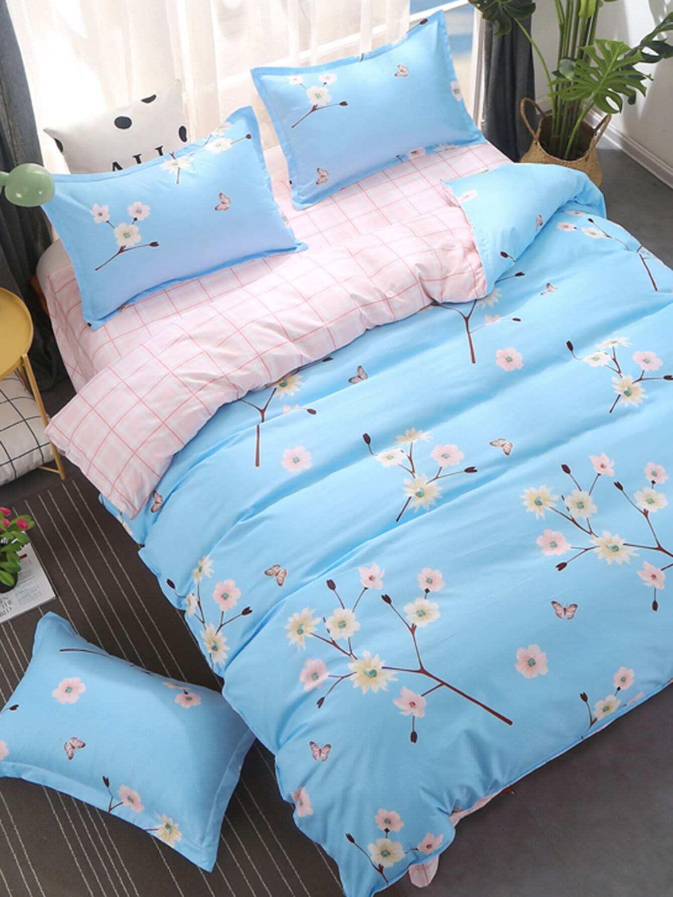 Flower & Plaid Print Bedding Set flower print bedding set