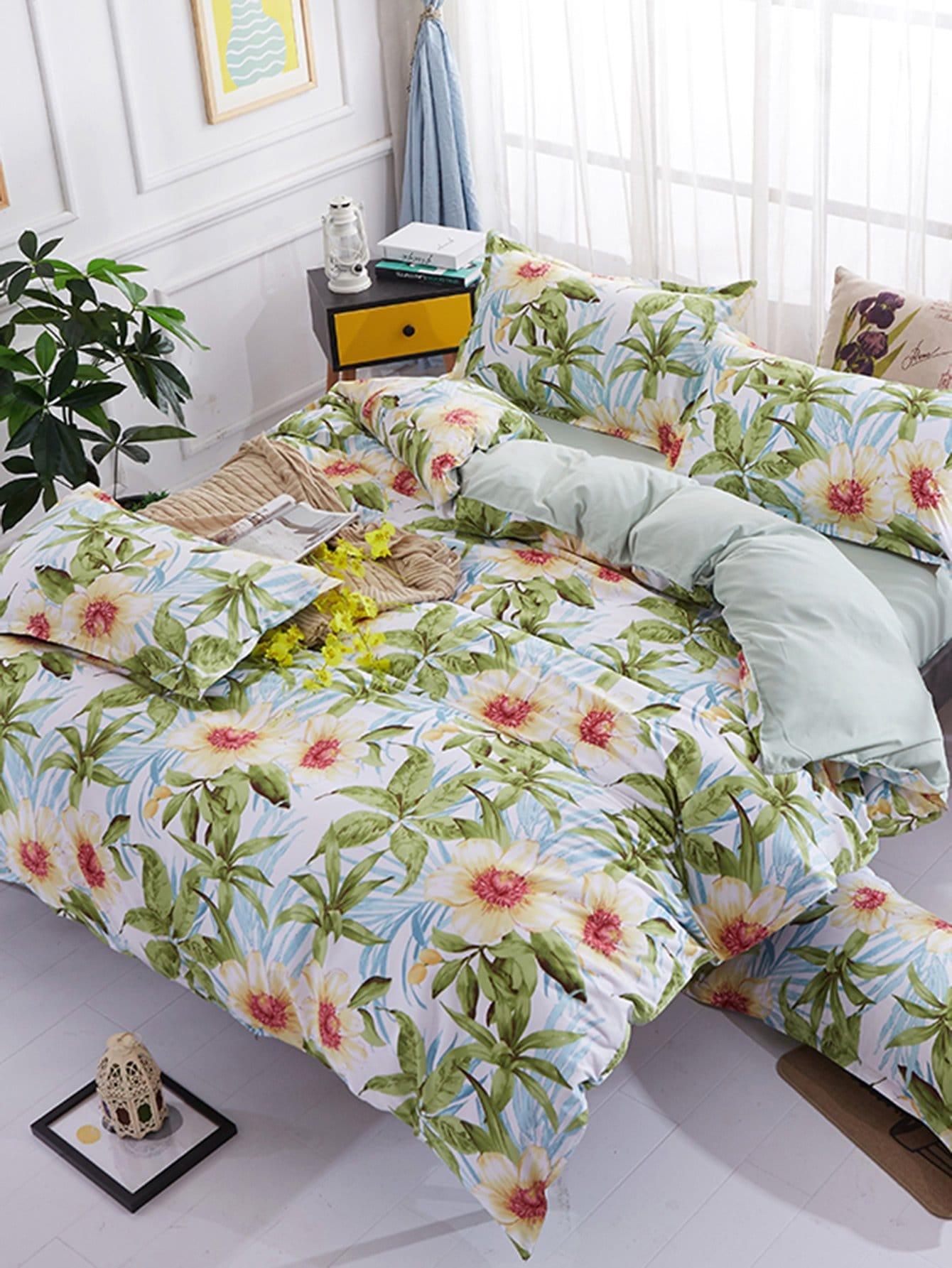 Flower Print Duvet Cover & Sheet & Sham Set