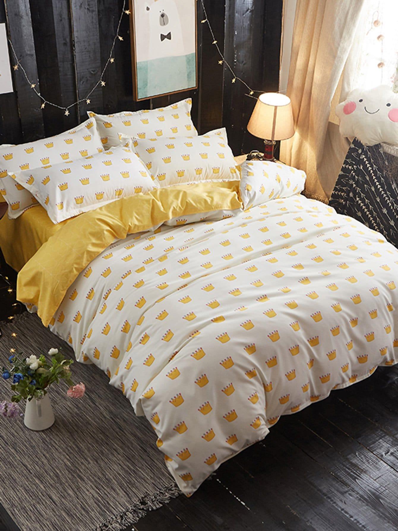 Crown Print Bedding Set