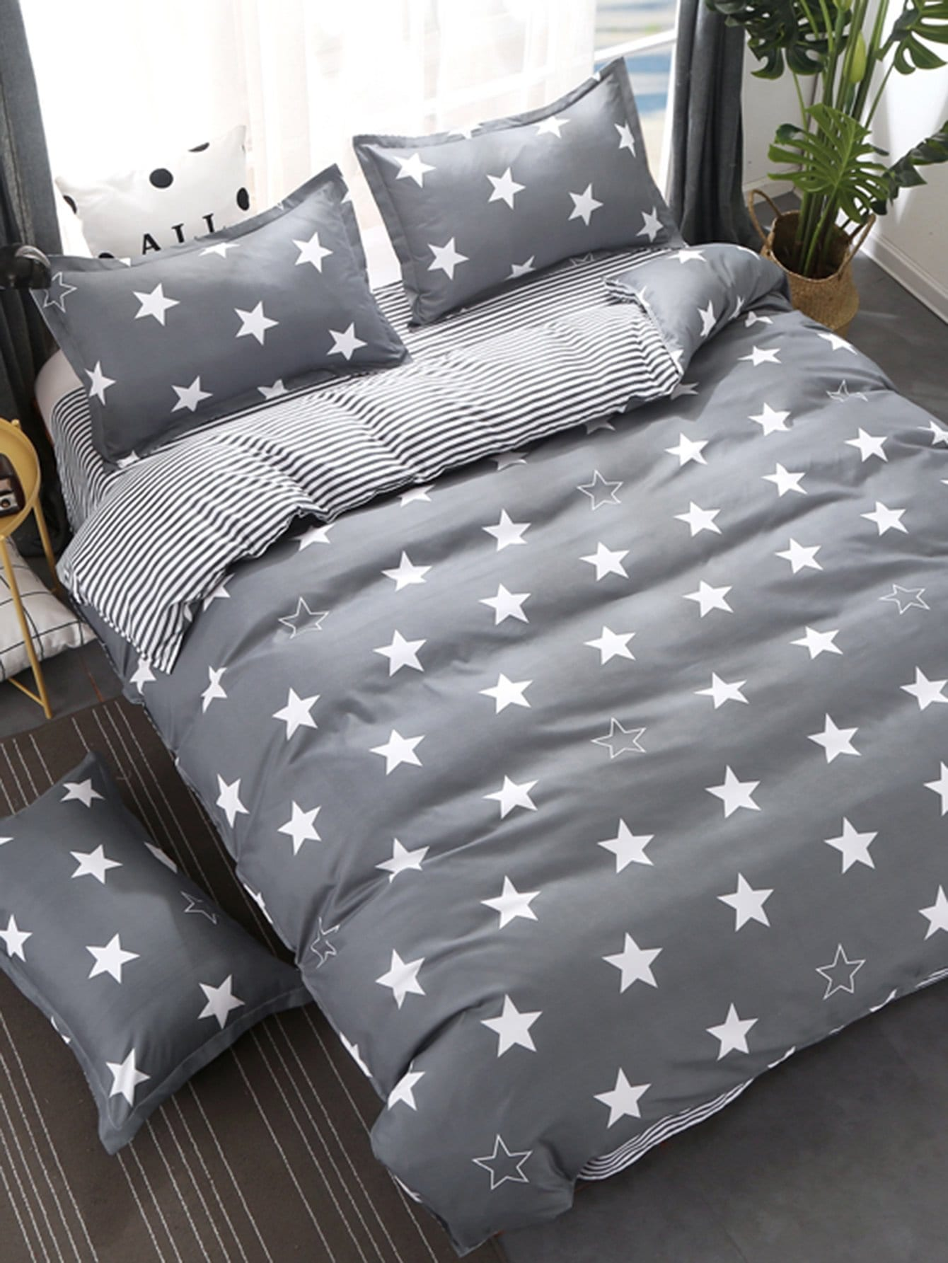 Stars & Striped Print Bedding Set vertical striped bedding set