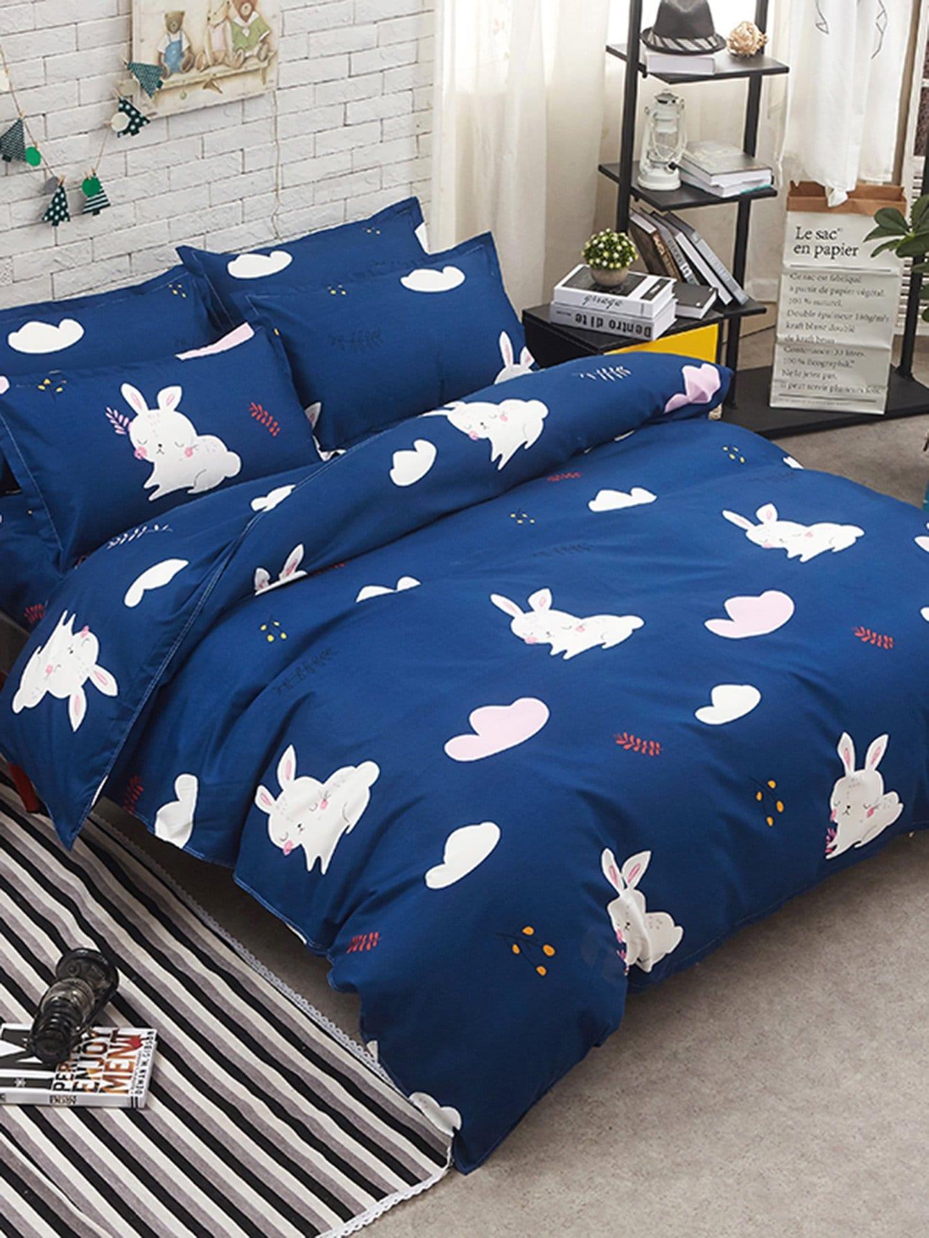 Rabbit Print Bedding Set heart print bedding set