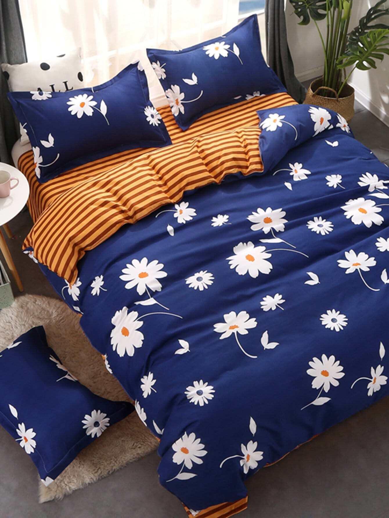 Купить Комплект для кровати в цветочек с полосками, null, SheIn