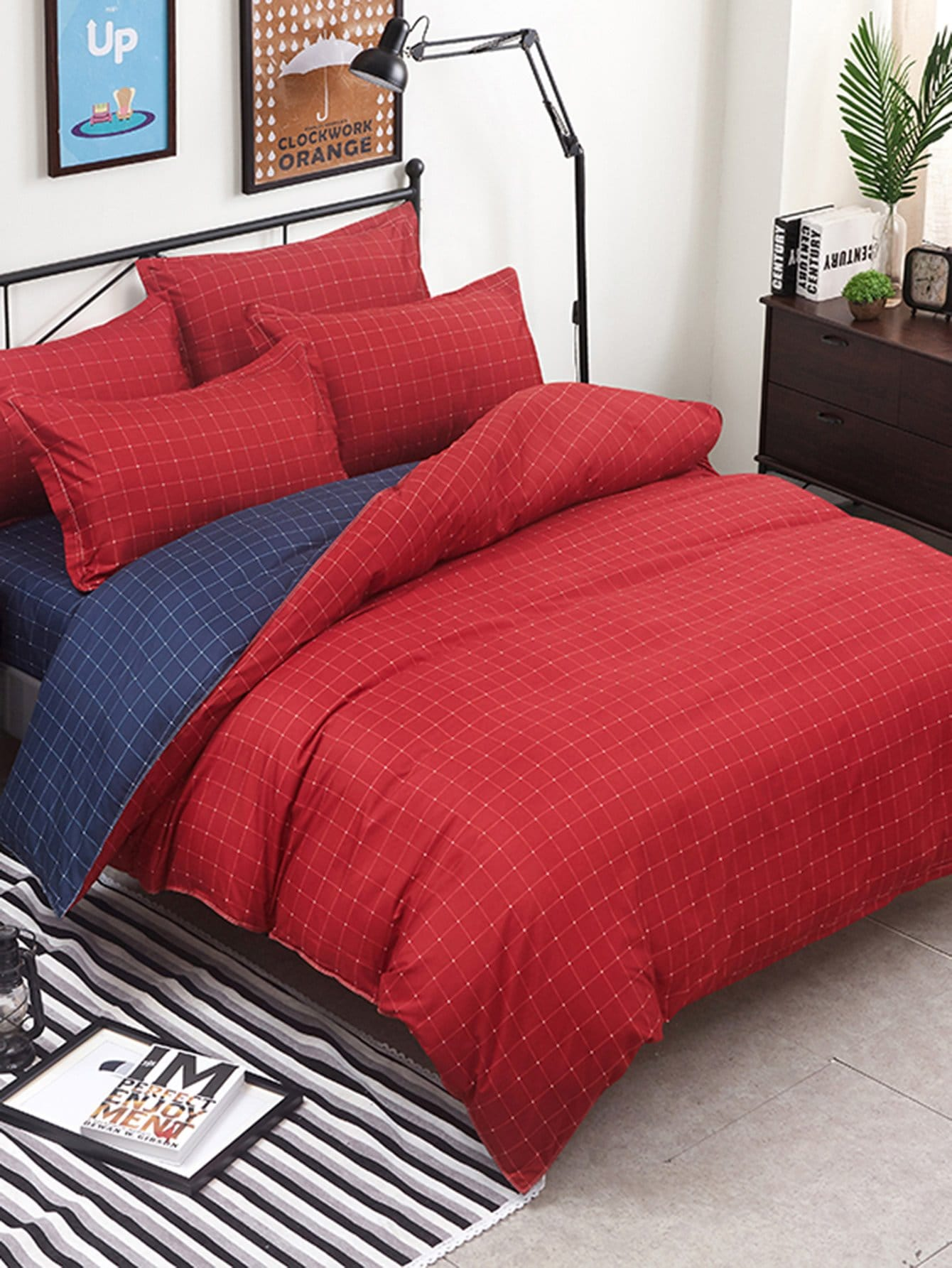 Two Tone Grid Bedding Set drop crotch loose two tone pants