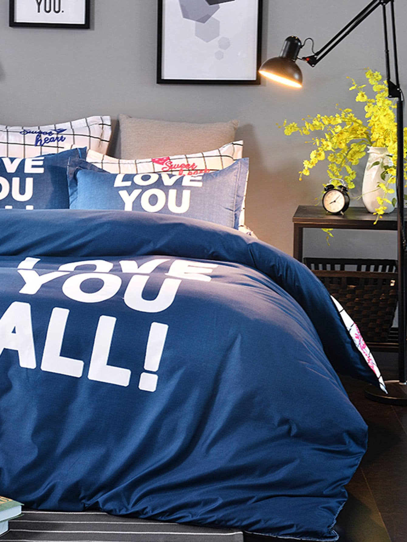 Slogan & Grid Print Duvet Cover Set grid duvet cover set