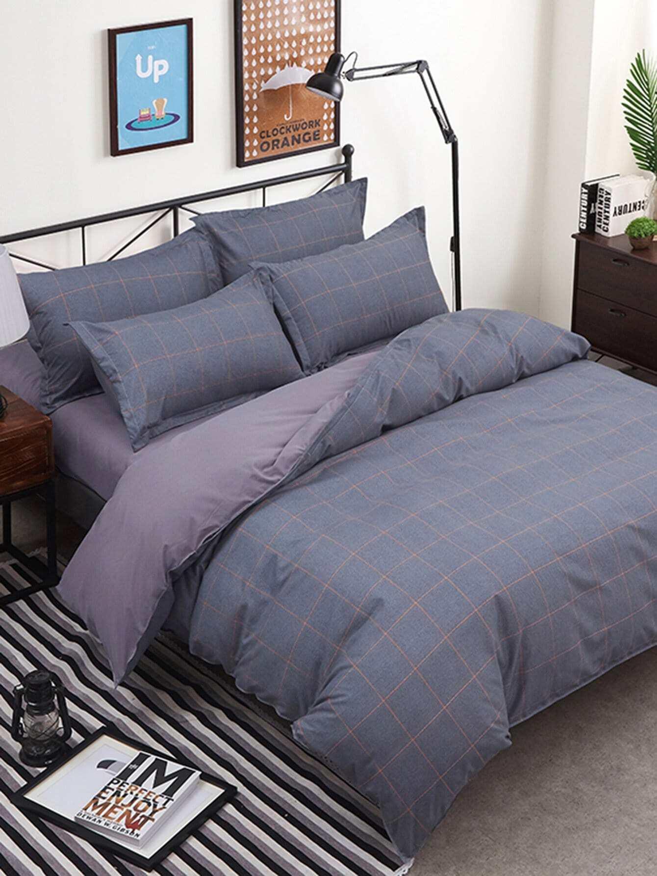 Grid Minimalist Duvet Cover Set striped minimalist duvet cover set
