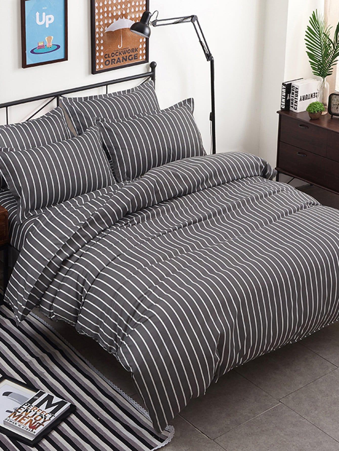 Striped Minimalist Duvet Cover Set striped minimalist duvet cover set