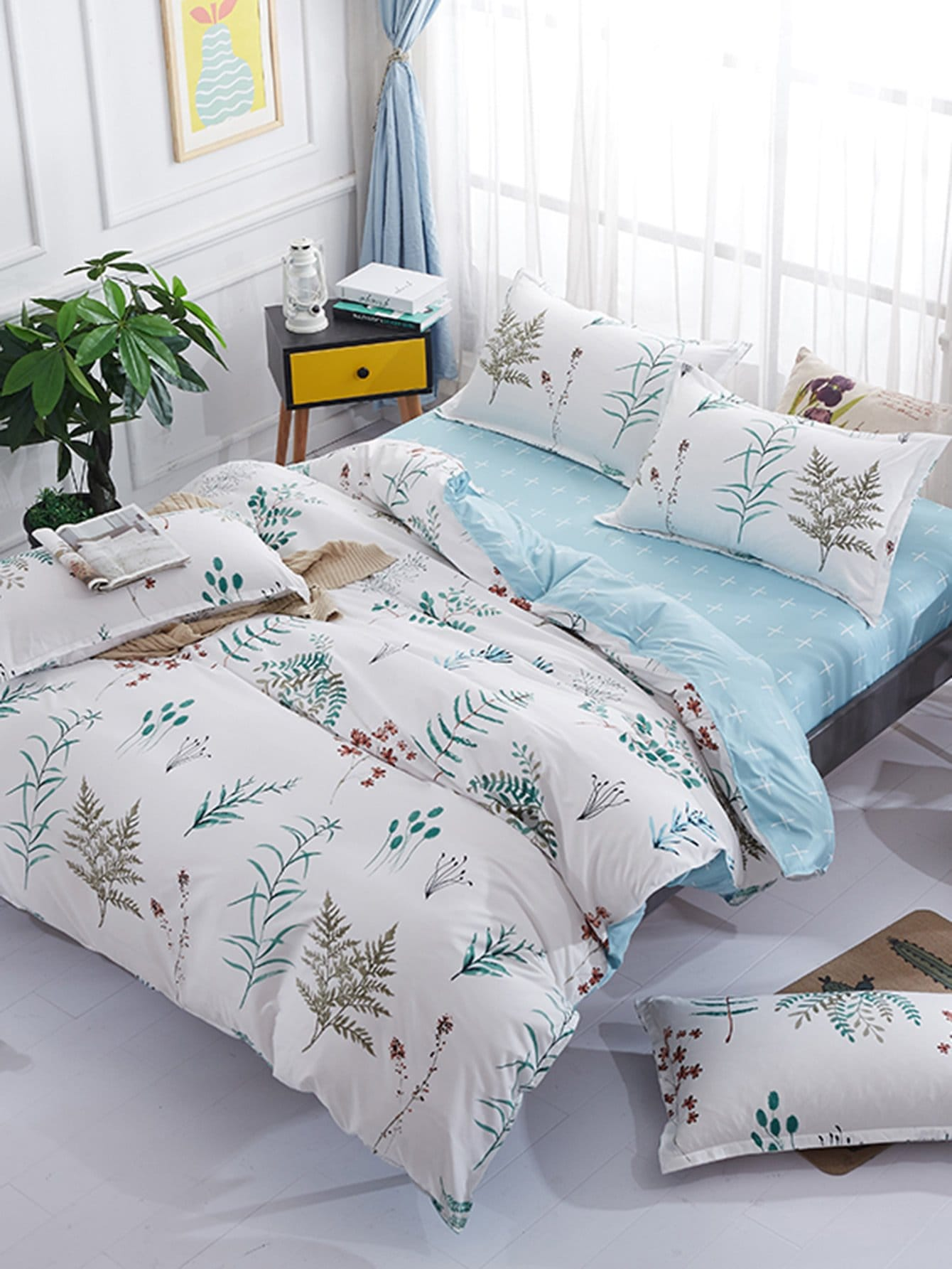 Plant Print Duvet Cover Set notch collar floral wrap dress