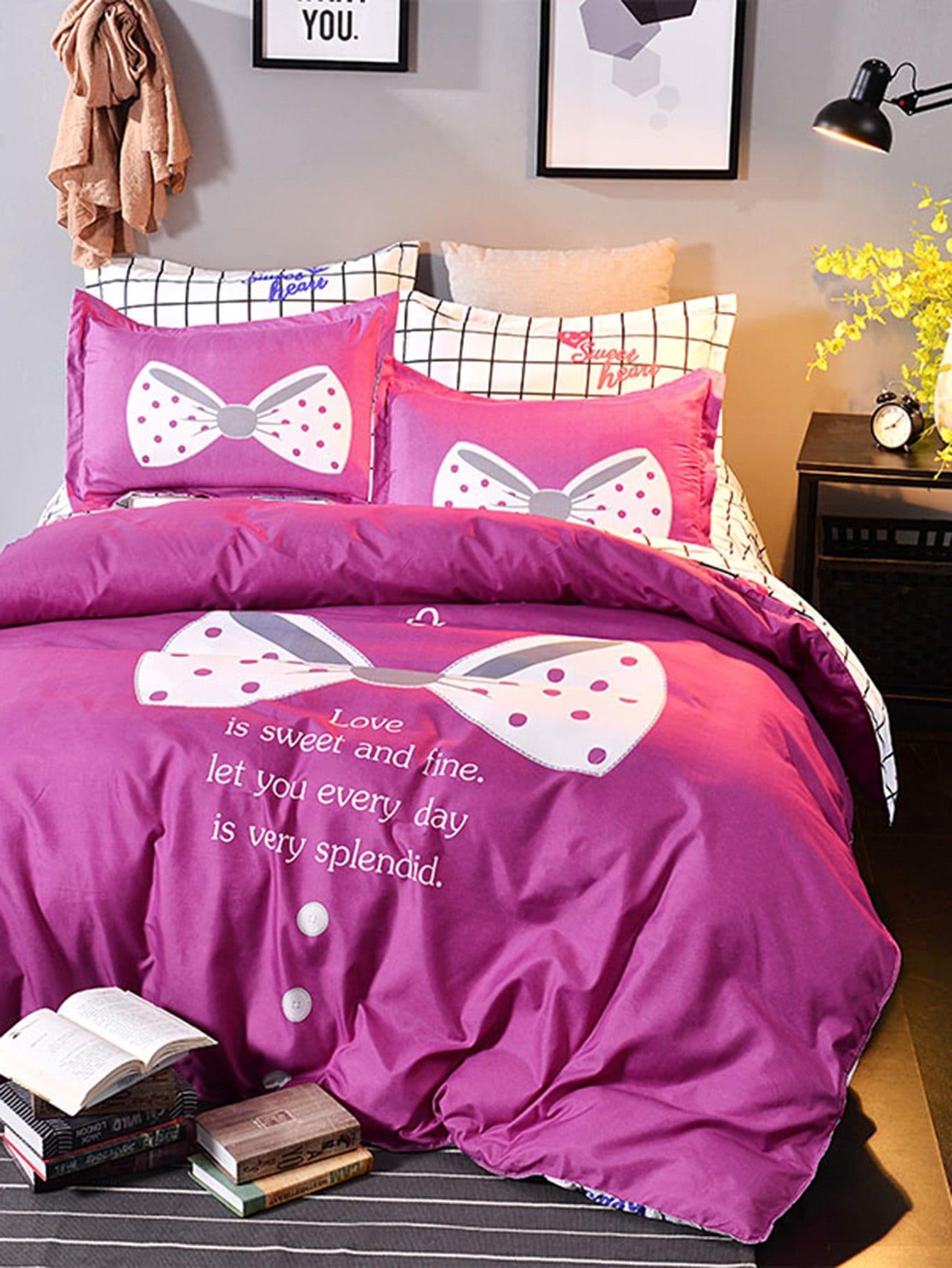 Комплект для кровати с принтом слоган и клетки