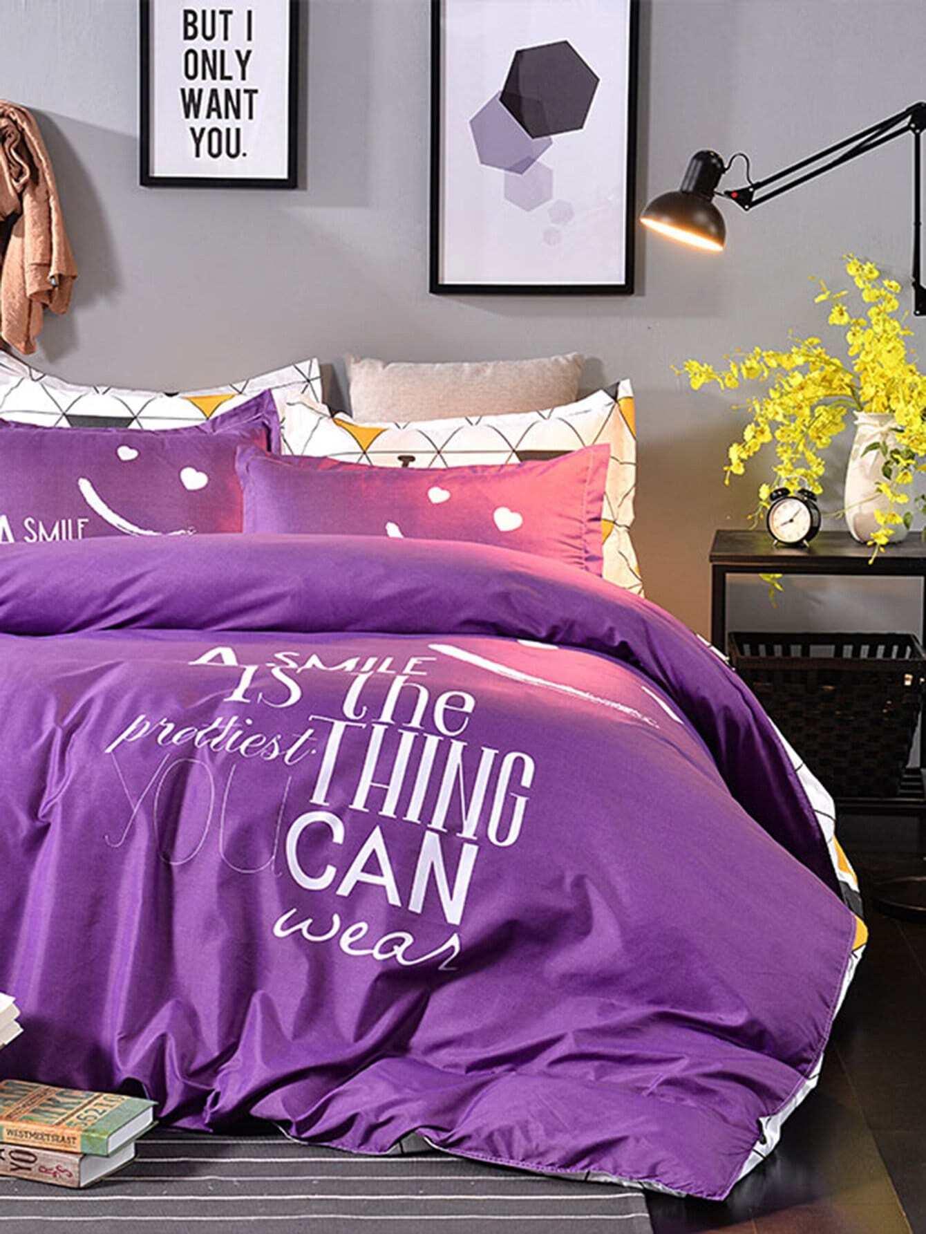 Комплект для кровати с принтом геометрия со слоганом