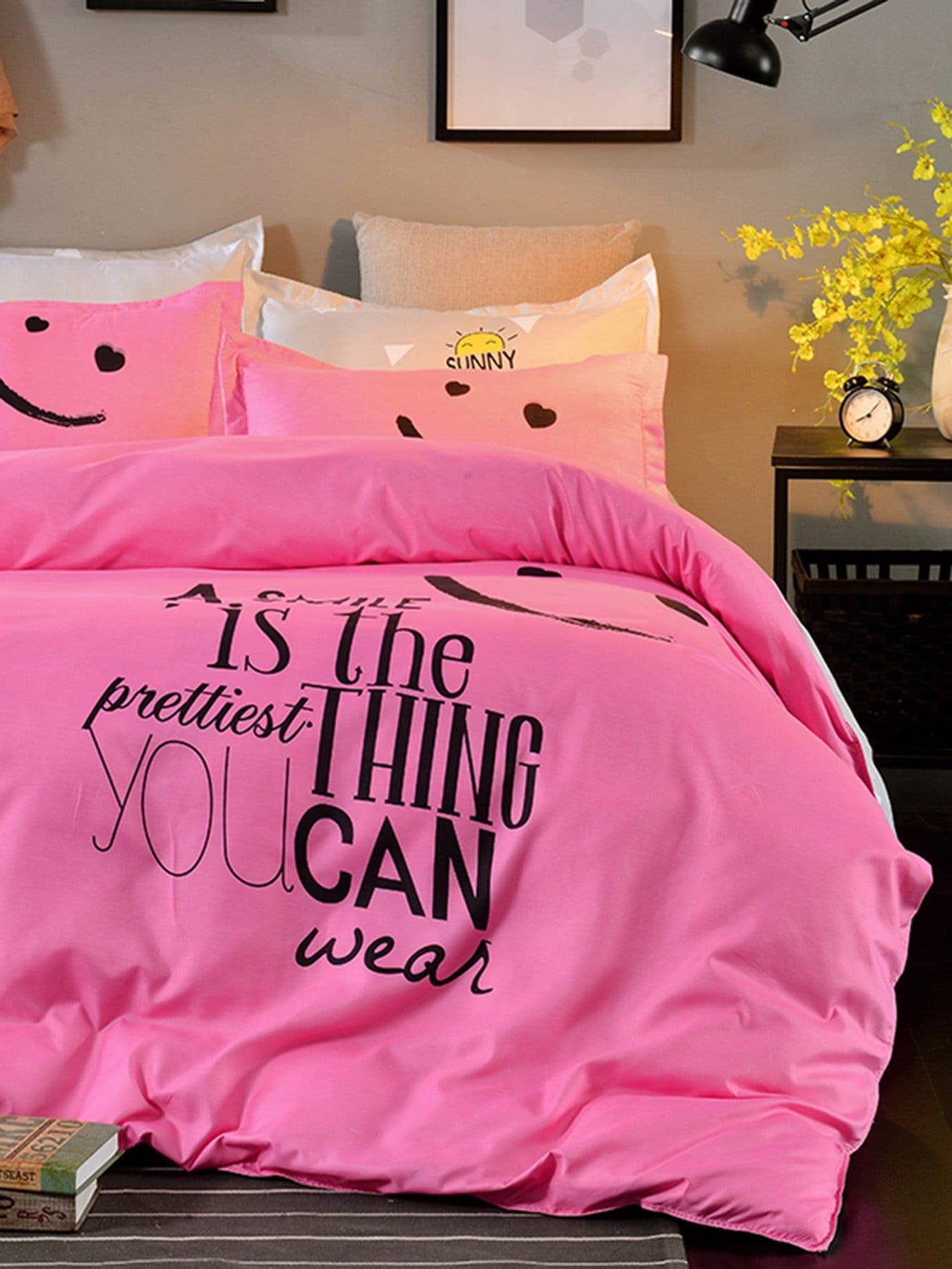 Купить Комплект для кровати с принтом мультики со слоганом, null, SheIn