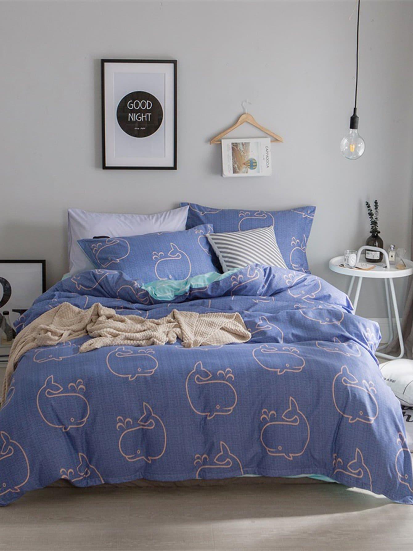 Whale Allover Print Bedding Set