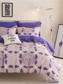 All Over Pattern Bed Sheet Set ROMWE