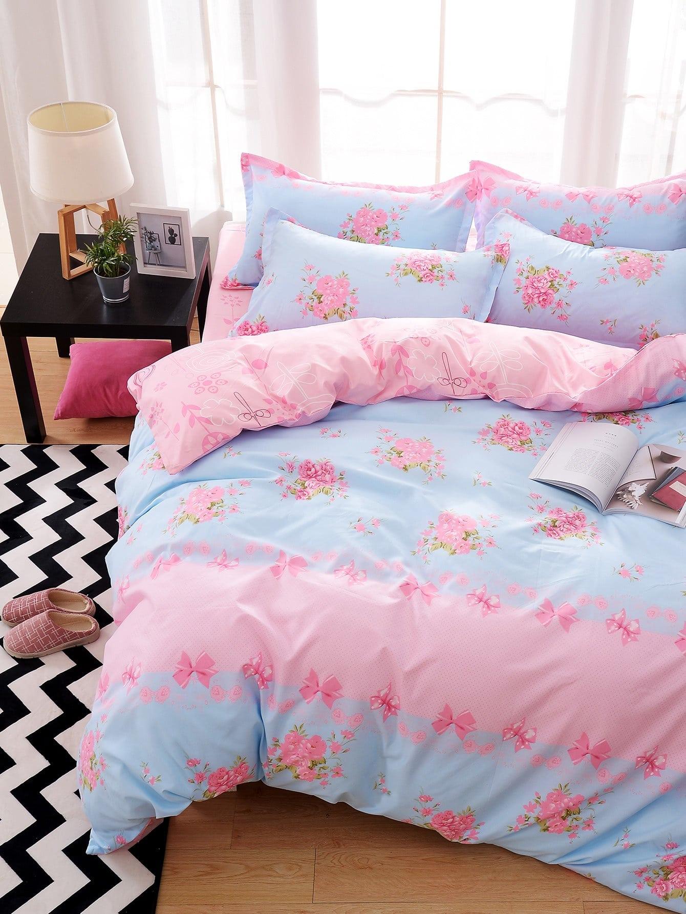 All Over Florals Duvet Cover Set all over florals dip hem shirt