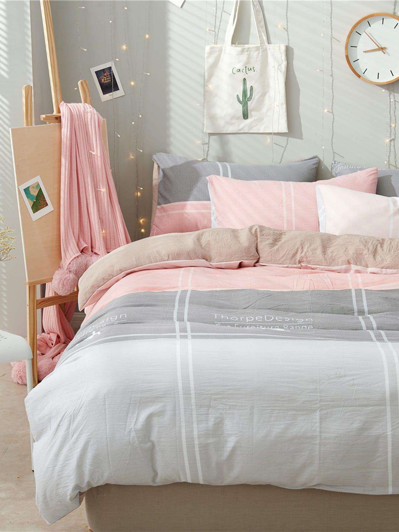 Letter Print Striped Bed Sheet Set striped letter sheet set