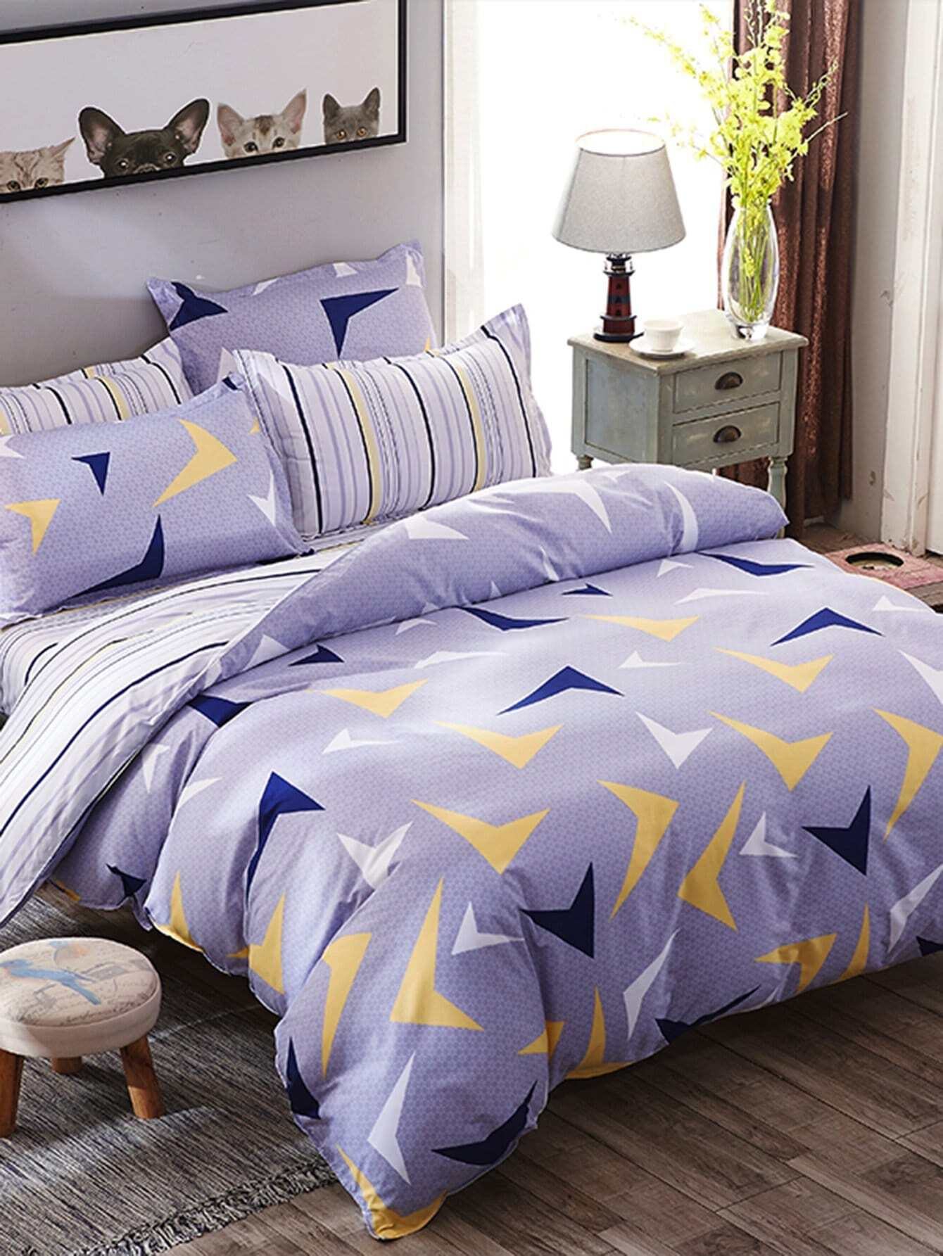 Geometric Print Striped Bedding Set vertical striped bedding set