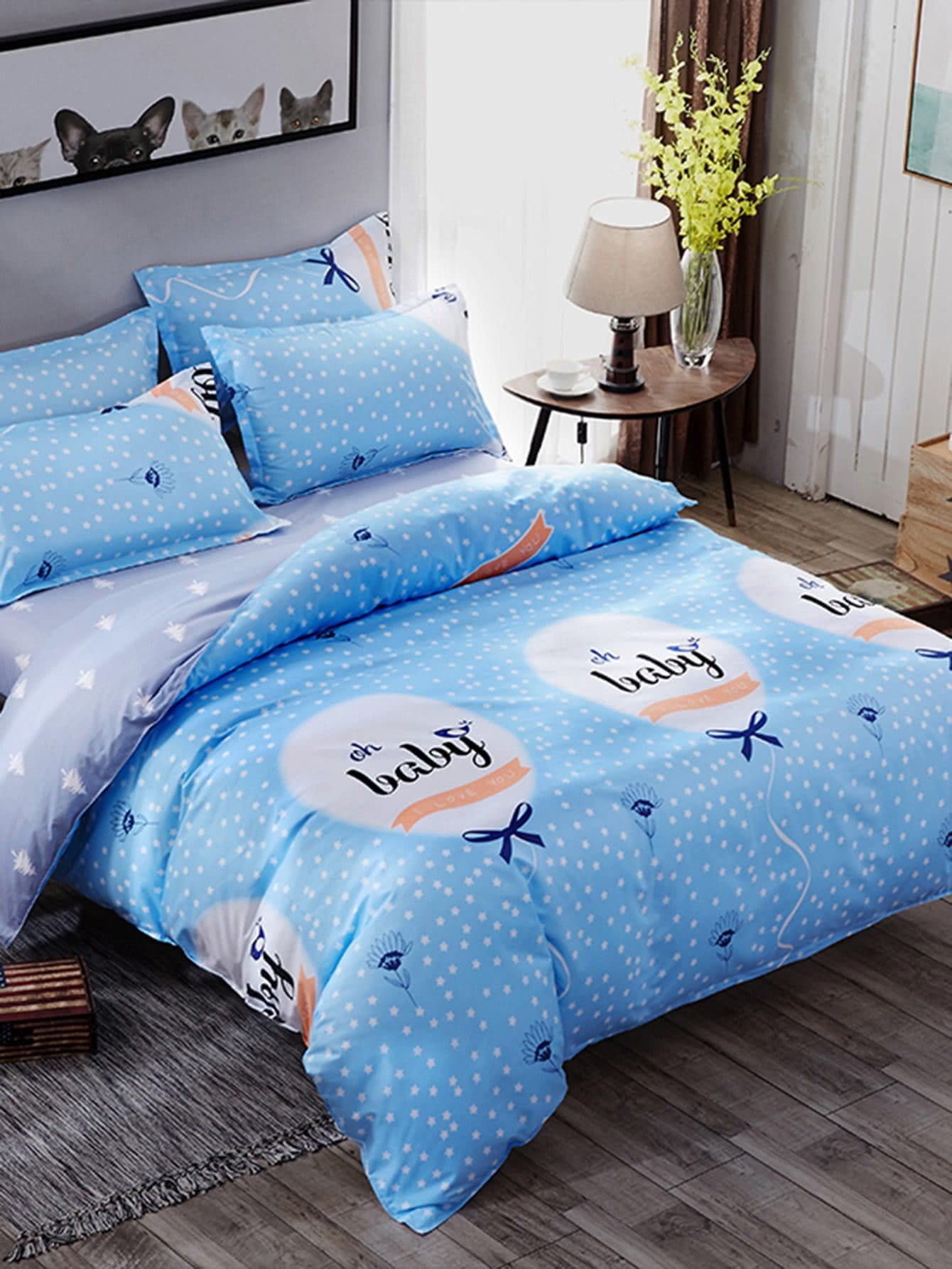 Polka Dot Letter Print Bedding Set letter print two tone bedding set