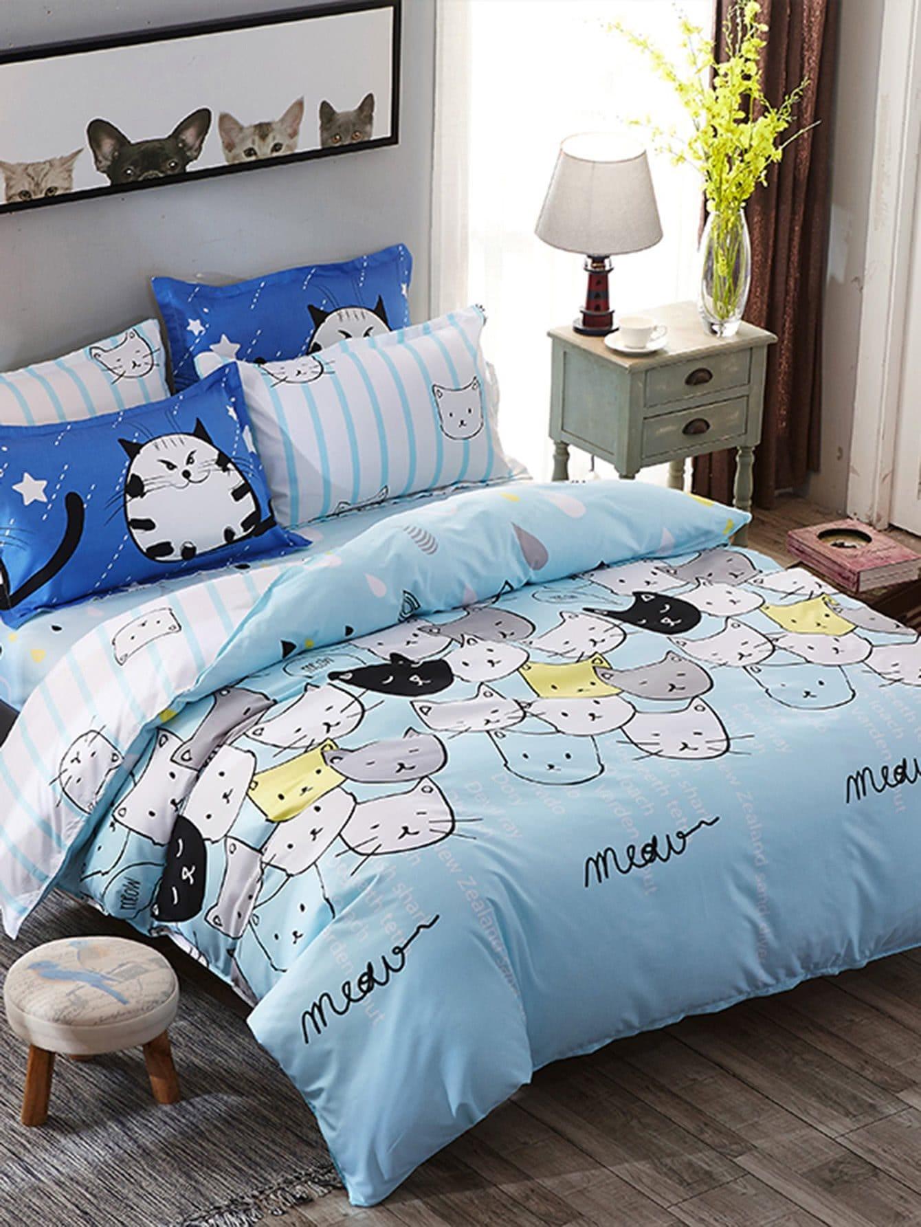 Купить Комплект для кровати с принтом кошки, null, SheIn