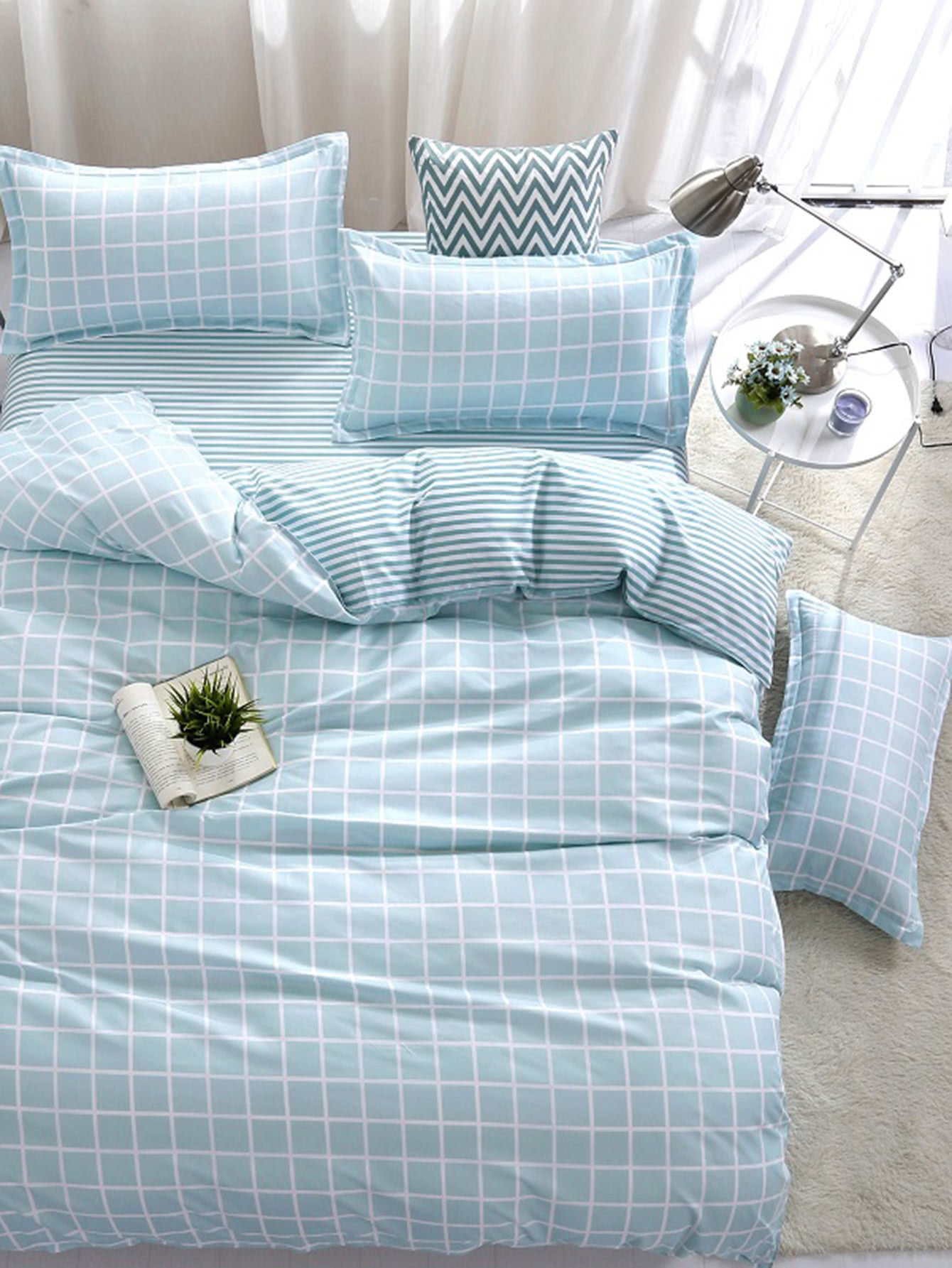 Купить Комплект для кровати в клетку с полосками, null, SheIn