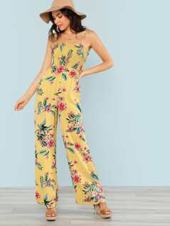 Floral Print Smocked Jumpsuit with Shoulder Ties