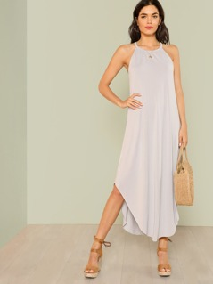 Flowy High Neck Shirt Dress CLOUD