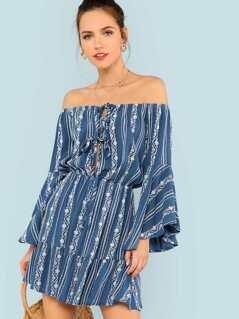 Floral Print Bell Sleeve Bardot Dress