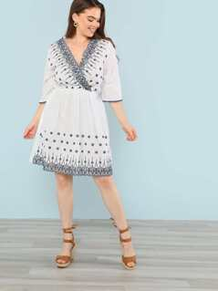 Plus Floral Embroidered Surplice Dress