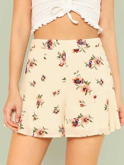 Floral Print Flare Shorts