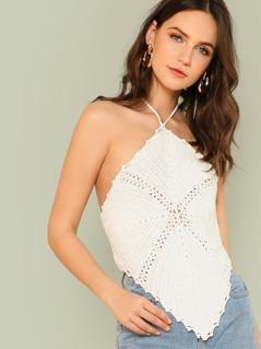 Halter Strap Self Tie Crochet Top