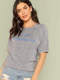 Short Sleeve Letter Print Sweatshirt