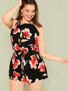Plus Floral Print Romper with Keyhole Back