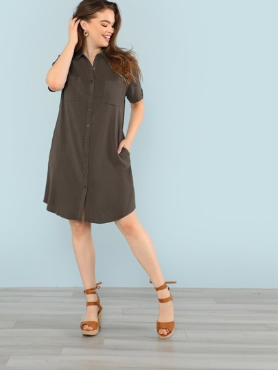 Button Up Shirt Dress with Dual Pockets