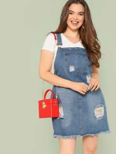 Plus Distressed Denim Overall Dress