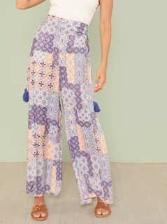 Boho Print Palazzo Pants with Tassel Ties