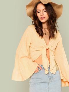 Flare Sleeve Tie Front Crop Kimono