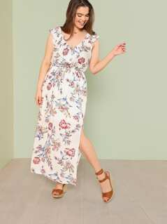 Plus Floral Print Ruffle Maxi Dress with Keyhole Back