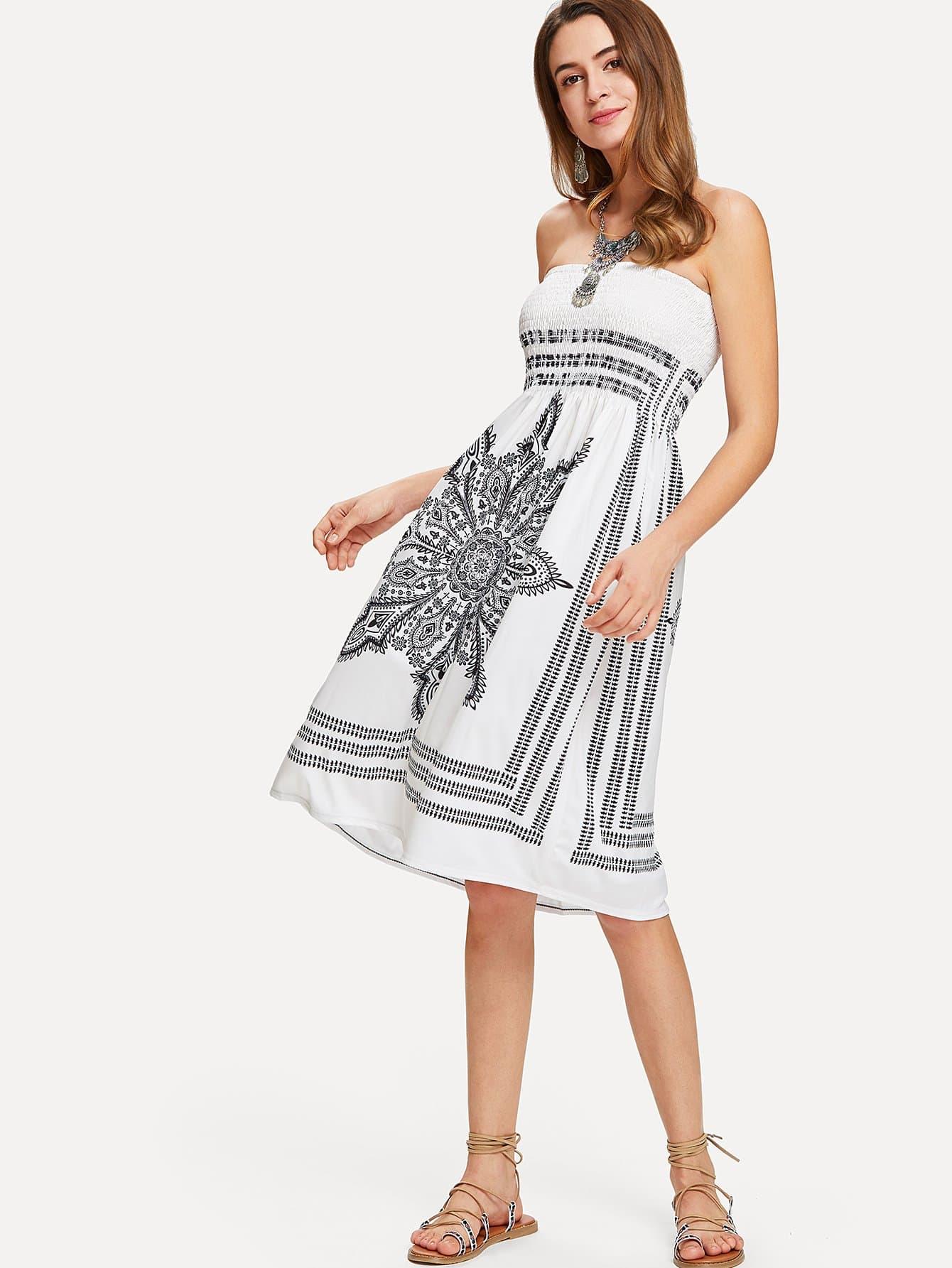 Shirred Bodice Tube Dress self tie shoulder shirred bodice geo dress