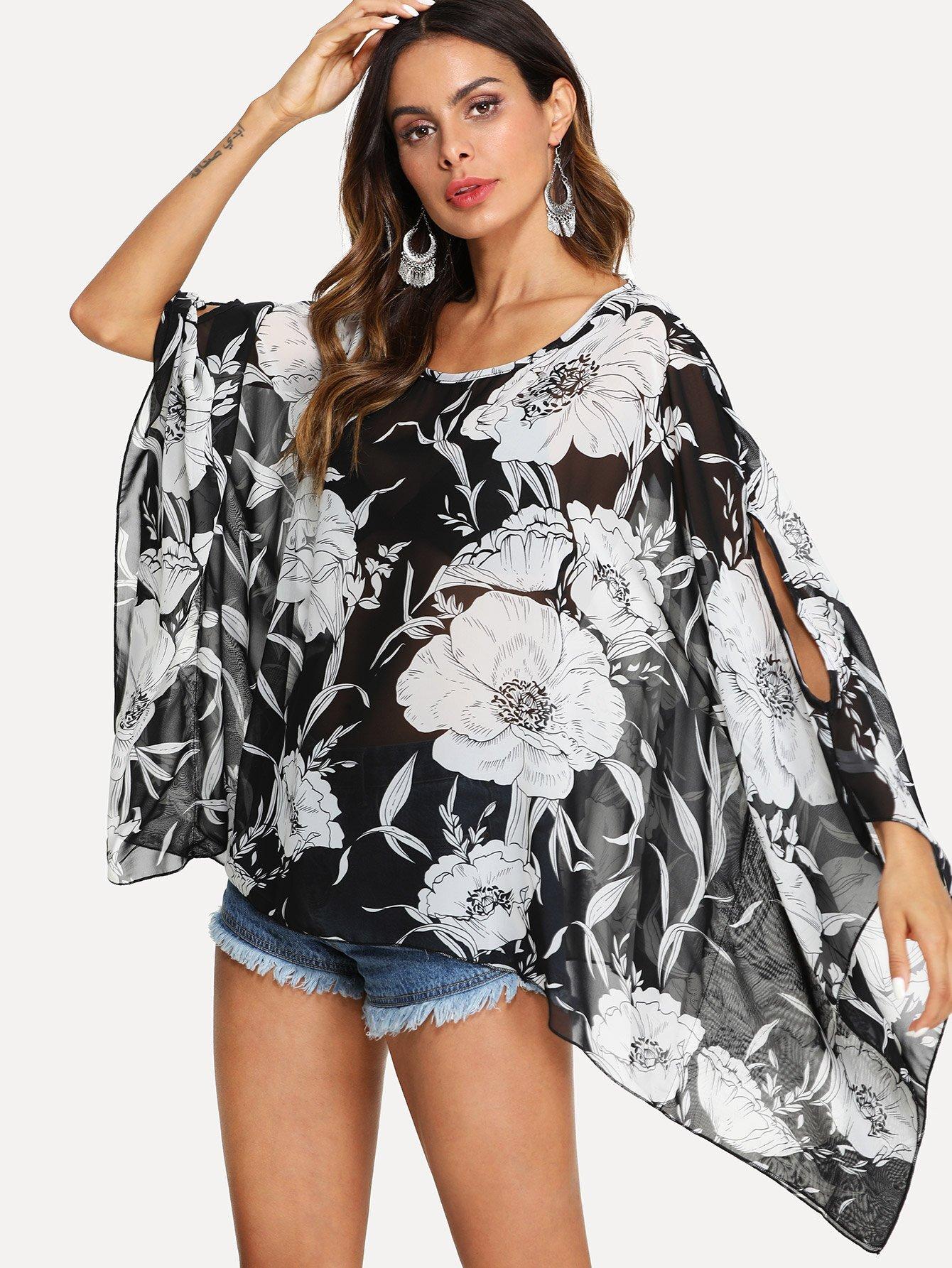 все цены на Floral Print Batwing-Split Sleeve Top