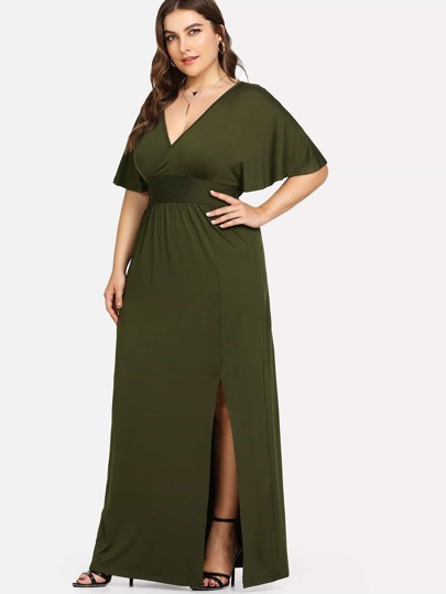 Deep V Neck Split Hem Dress