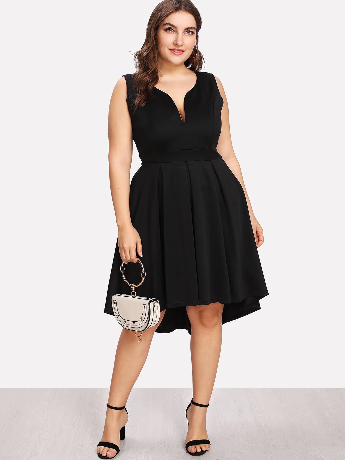 Купить Ассиметричное платье с v-образным воротником, Franziska, SheIn