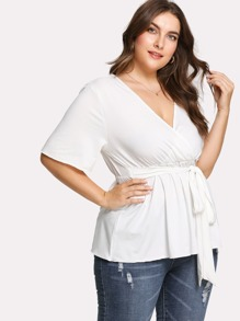 Deep V Neck Knot Front Tee