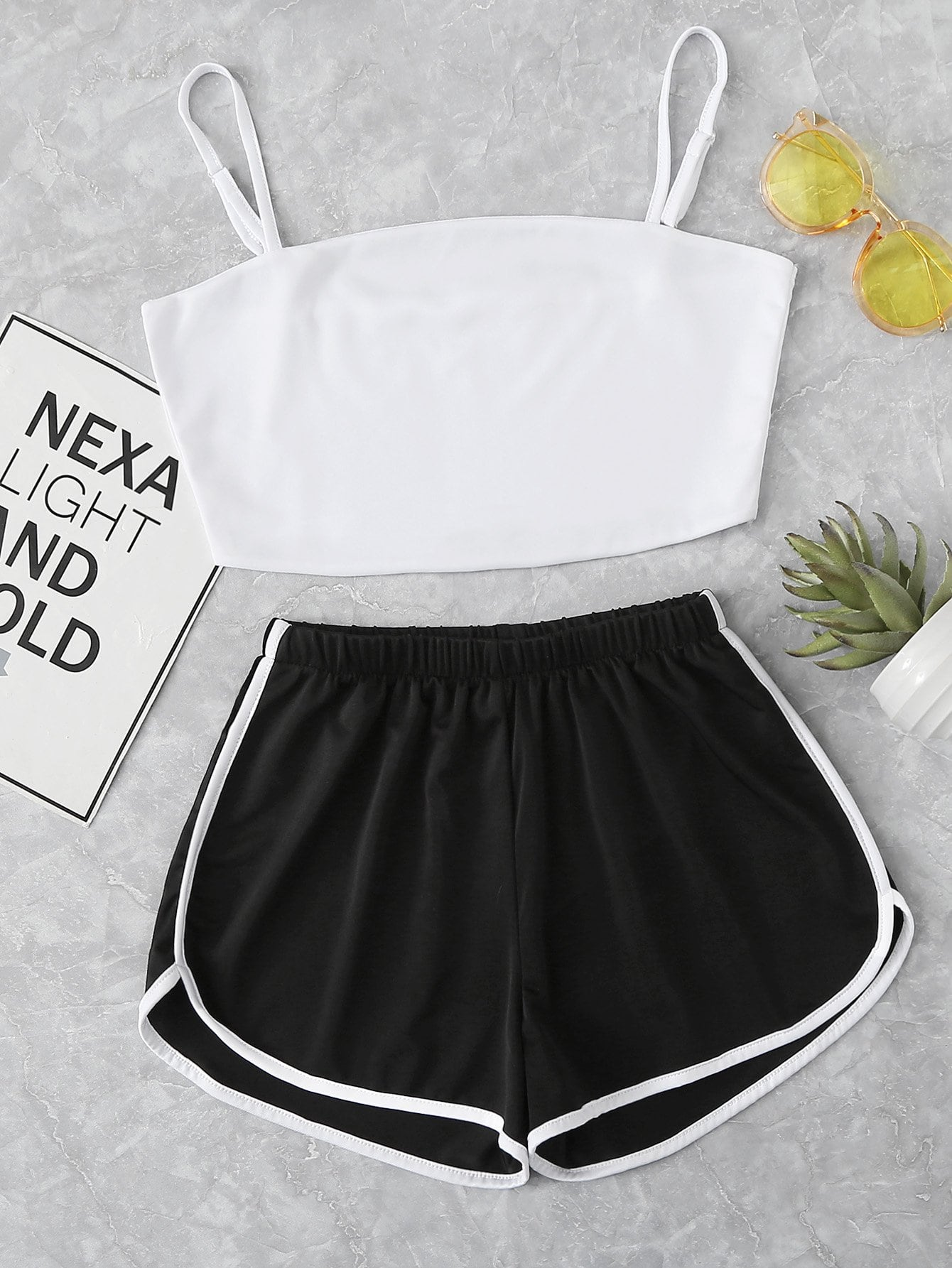 Crop Cami Top With Striped Shorts crop cami top with lace up shorts