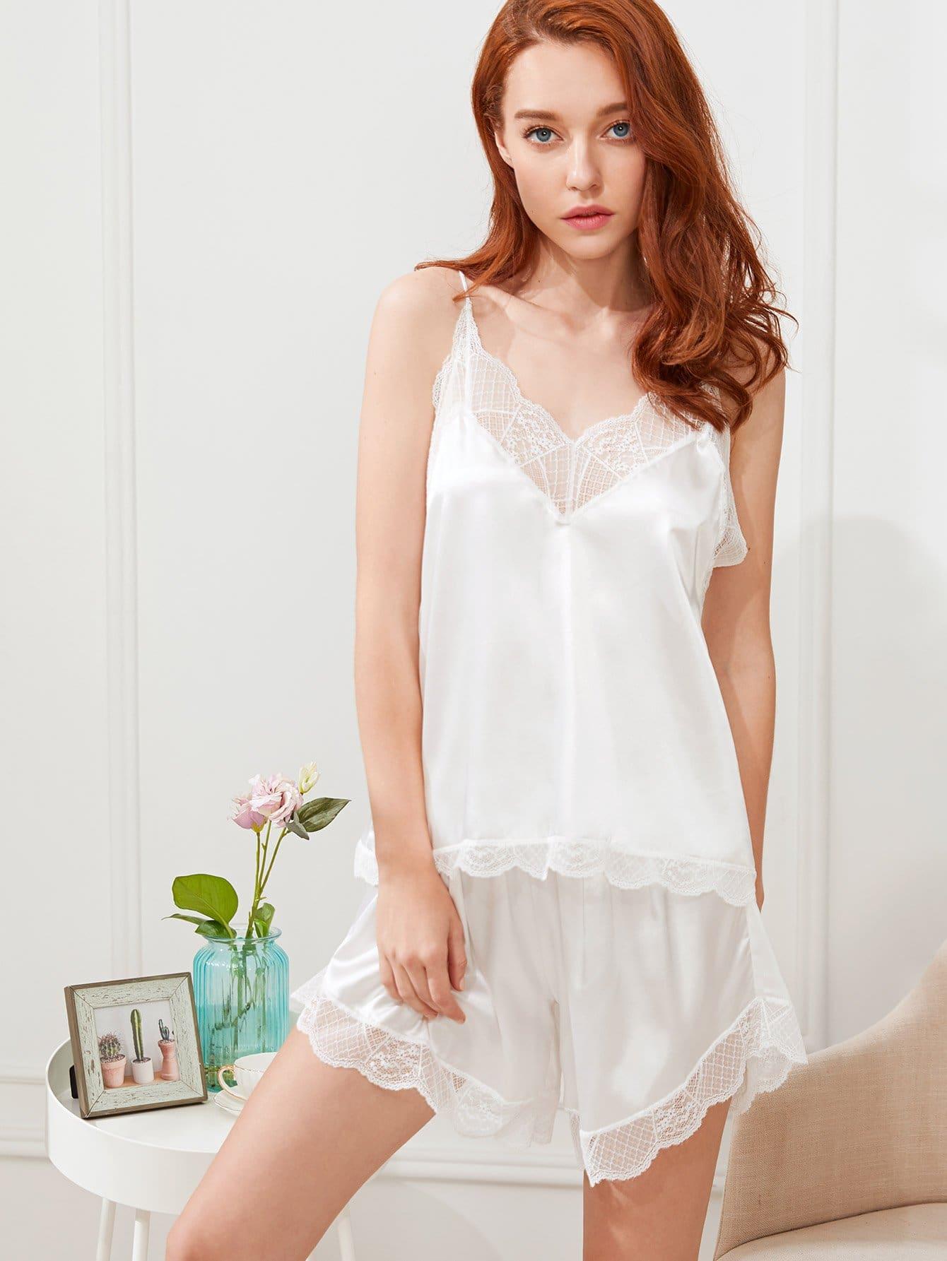 Lace Trim Cami Top & Shorts PJ Set lace panel cami backless pj set